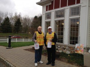 Walt Lublanecki and Tom Sanders in front of Dunkin Donuts on April 19, 2013