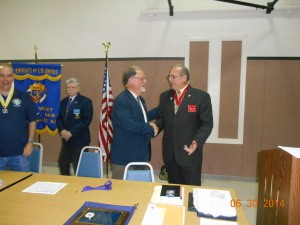 Current District Deputy (DD) congradulates Lou Monteforte as his new replacement as DD.